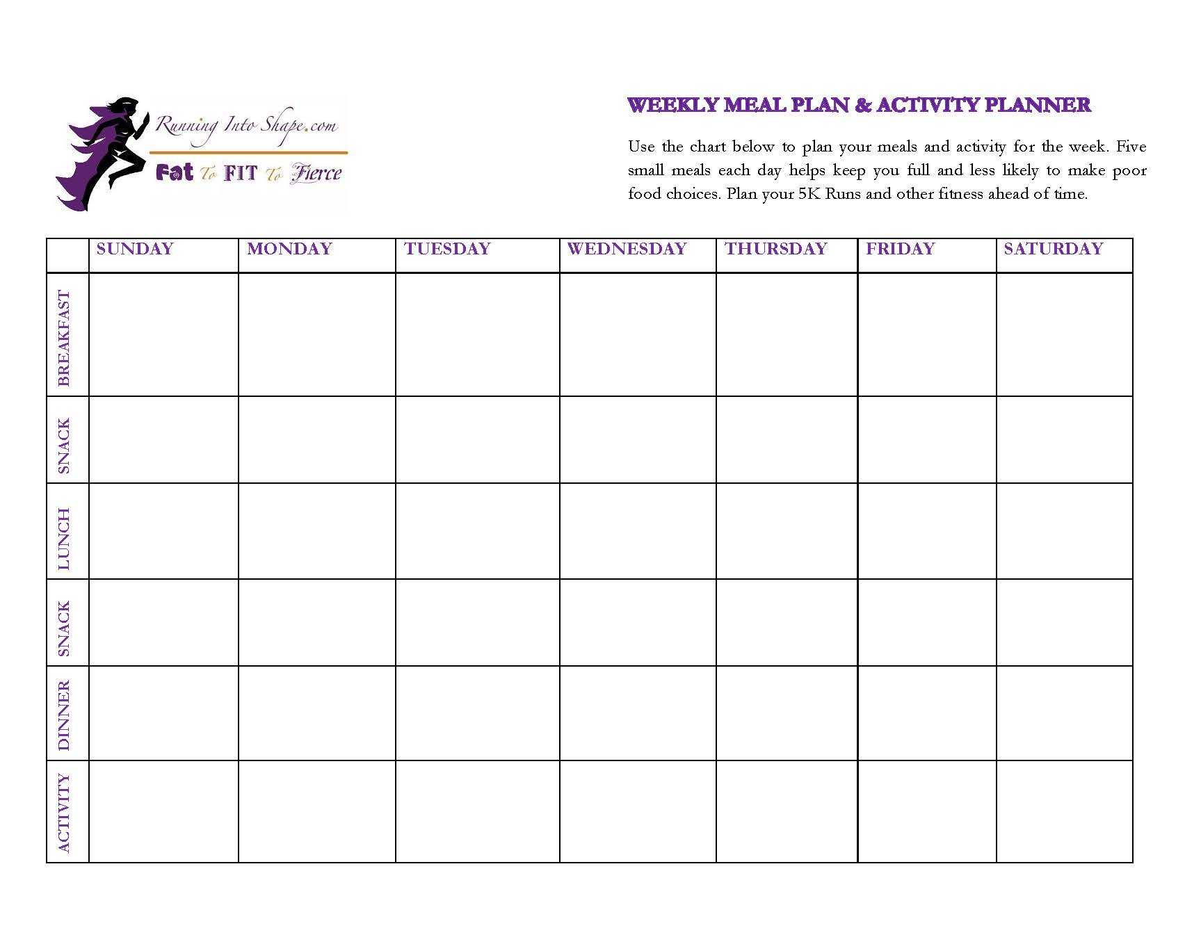 Meal planner activity planner carli fierce running for Activity timetable template
